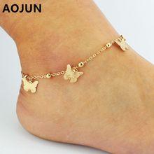 AOJUN Female Butterfly Anklets Hot Alloy Barefoot Crochet Sandals leg bracelet Foot Anklet Bracelets For Women