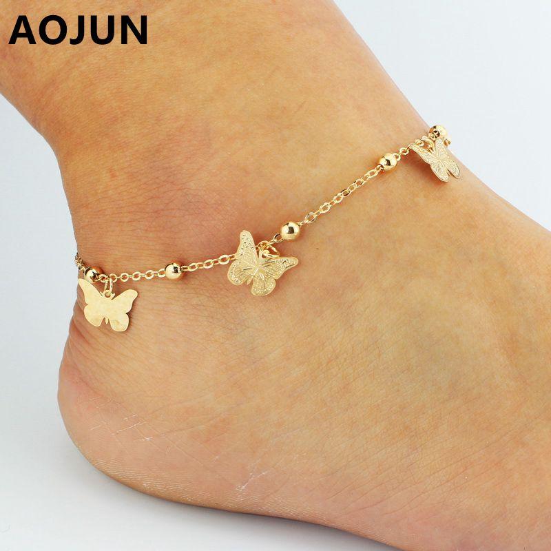 Female Butterfly Anklets 18K Gold Plated Barefoot Crochet Sandals leg bracelet Foot Anklet Bracelets For Women