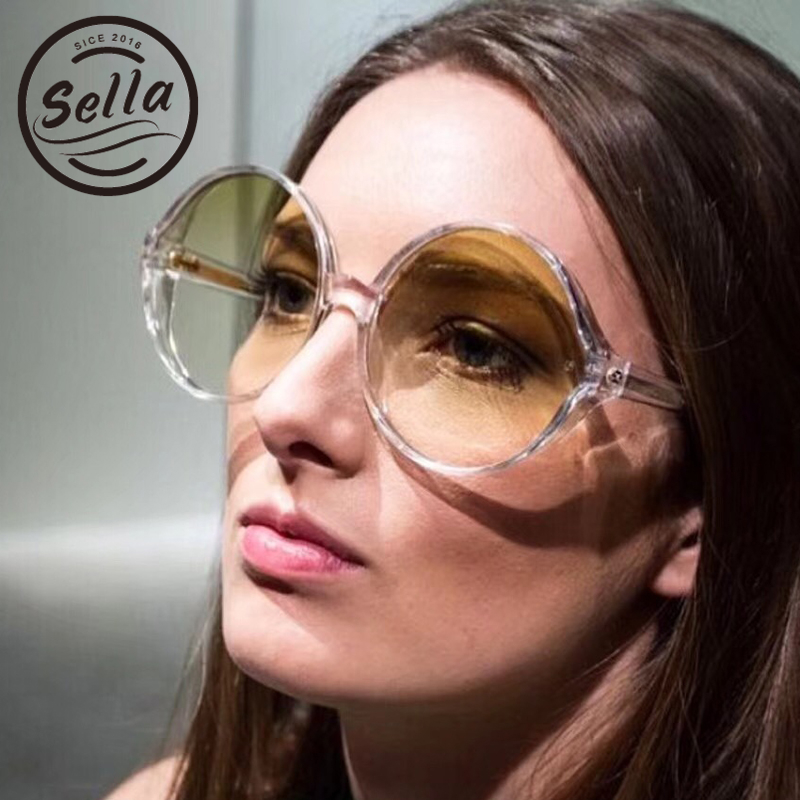 Sella nuevo verano moda mujer Oversized ronda gafas de sol populares del diseñador del Color del caramelo película de revestimiento gafas de sol gafas