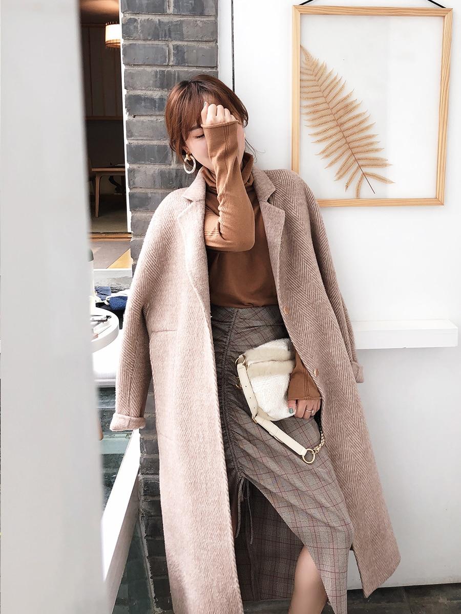 2018 осень зима теплое пальто для женщин карман шерсть и смесь Oversize Свободные Повседневное элегантный Тренч шерстяное пальто