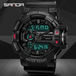 Image 2 - 2019 sanda 새로운 s 충격 남자 스포츠 시계 남자에 대 한 큰 다이얼 디지털 시계 럭셔리 브랜드 led 군사 방수 남자 손목 시계