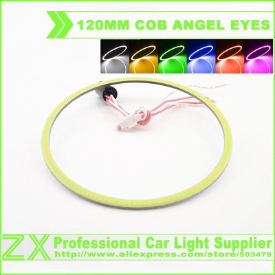 1 pair 2x 120mm led ring cob angel eyes eye light ring rings 12v 24v for BMW AUDI corolla chevrolet cruze six color