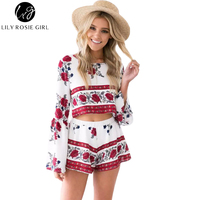 Boho Floral Print Sexy Backless Flared Sleeve Two Pieces Women Jumpsuit Romper Summer Elegant Short Ovaralls