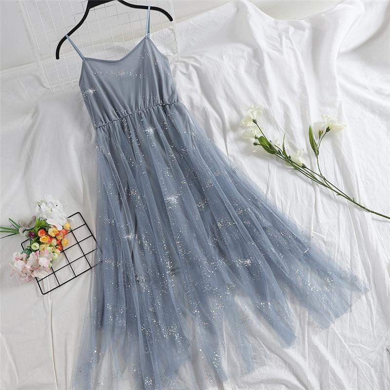 Hiawatha V-Neck Sequined Backless Sexy Dress Women Elegant Mesh Strap Dresses Summer Party Sleeveless Vestidos L9209 5