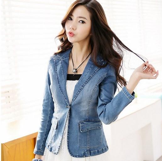 Moda feminina de Algodão Fino Curto Blazer Azul Primavera Outono um Botão Jaquetas e Casacos Das Mulheres Denim Blazer