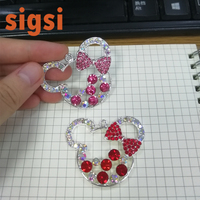 Wholesale sparkly Fancy Rhinestone bow tie cute mickey chunky pendant/charm for Diy necklace