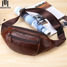 MISFITS mens genuine leather waist bag belt fanny pack fashion packs messenger chest bags for man phone hip pouch