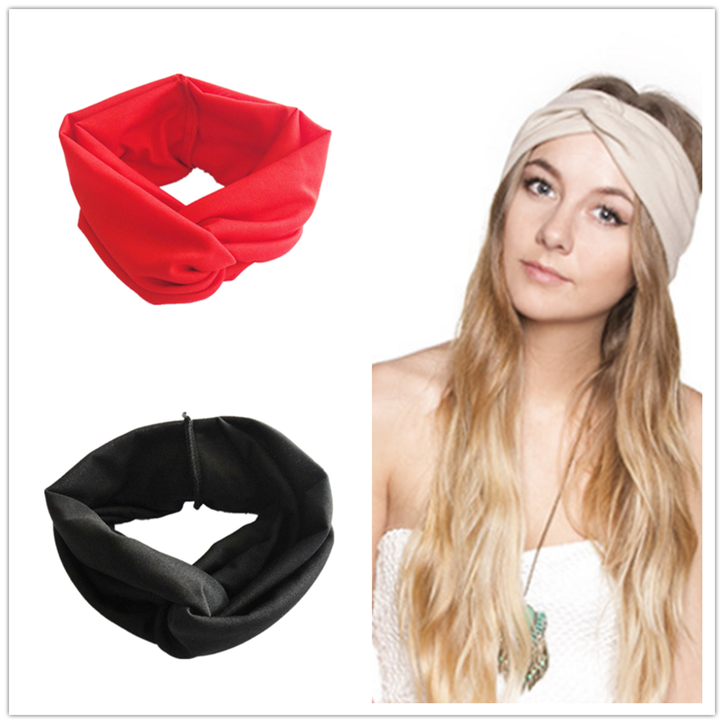 Solid Color Twist Elastic Turban Headband for Women Bows Elastic Sport Hairbands Head Band   Headwear   Headwrap Girls Hair Styling