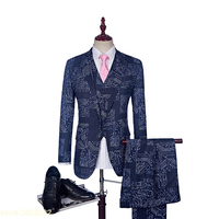 2018 New Autumn Winter Floral Groom Suit HIgh Quality Men Costume Homme Baroque Vintage Mens Suits Wedding Groom Prom suits