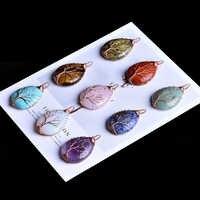 1 PC naturel rose quartz améthyste arbre garde vie minéral bijoux mode simple couple décoration pendentif bricolage cadeau pendentif