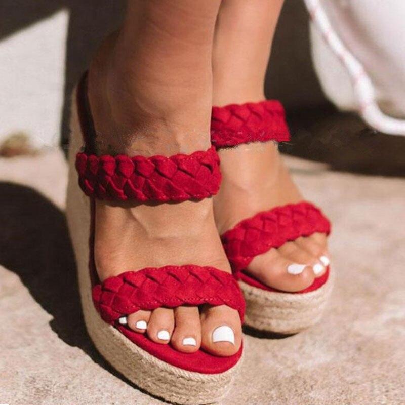 TANGNEST mode tricoté sandales femmes bande compensées Rome plates-formes pantoufles chaussures à talons hauts d'été dames robe chaussures XWZ6074