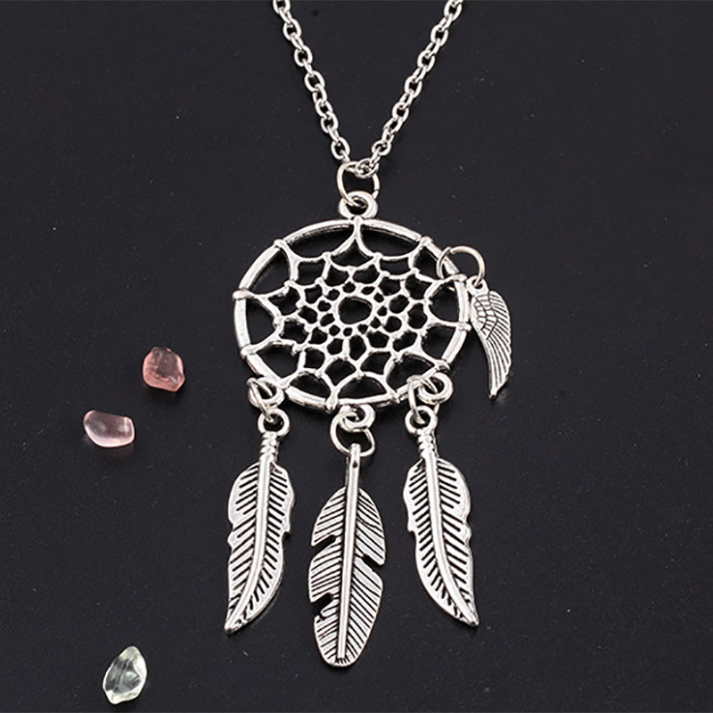 Dream catcher pendant necklace silver color feather wing leaf charm dream catcher pendant necklace silver color feather wing leaf charm blue beads long tassel link chain women dreamcatcher jewelry in pendant necklaces from mozeypictures Images