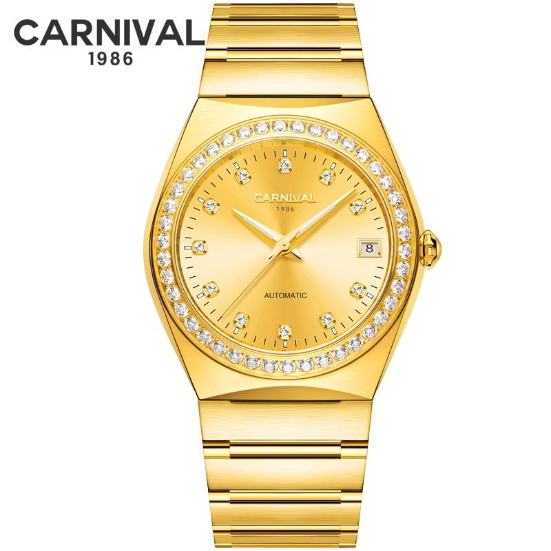 카니발 럭셔리 브랜드 miyota 기계식 시계 남성 전체 스틸 남성 시계 시계 erkek kol saati reloj hombre montre relogio gold-에서기계식 시계부터 시계 의  그룹 1