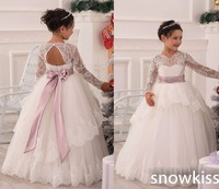 Beautiful white/ivory sheer lace appliques long sleeves crew neckline flower girl dresses vintage communion backless ball gowns