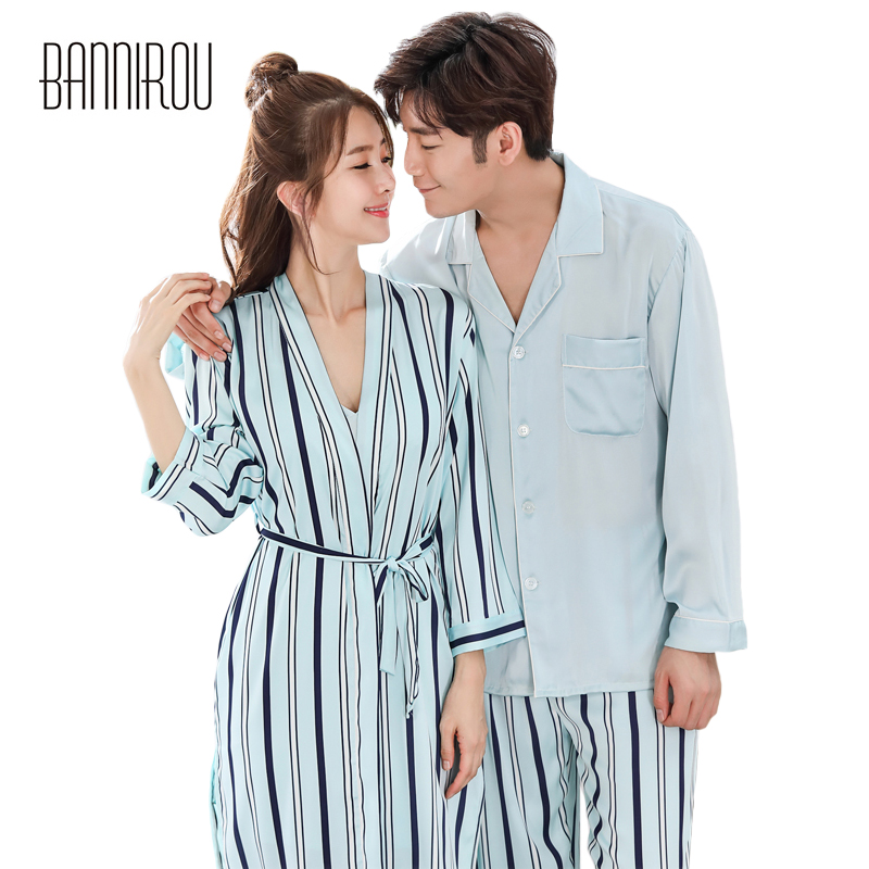 Spring Matching Couple Pajama Set Striped Chiffon Slik Satin Simple Full Button His-and-her Home Suit Pyjama For Lover Man Woman