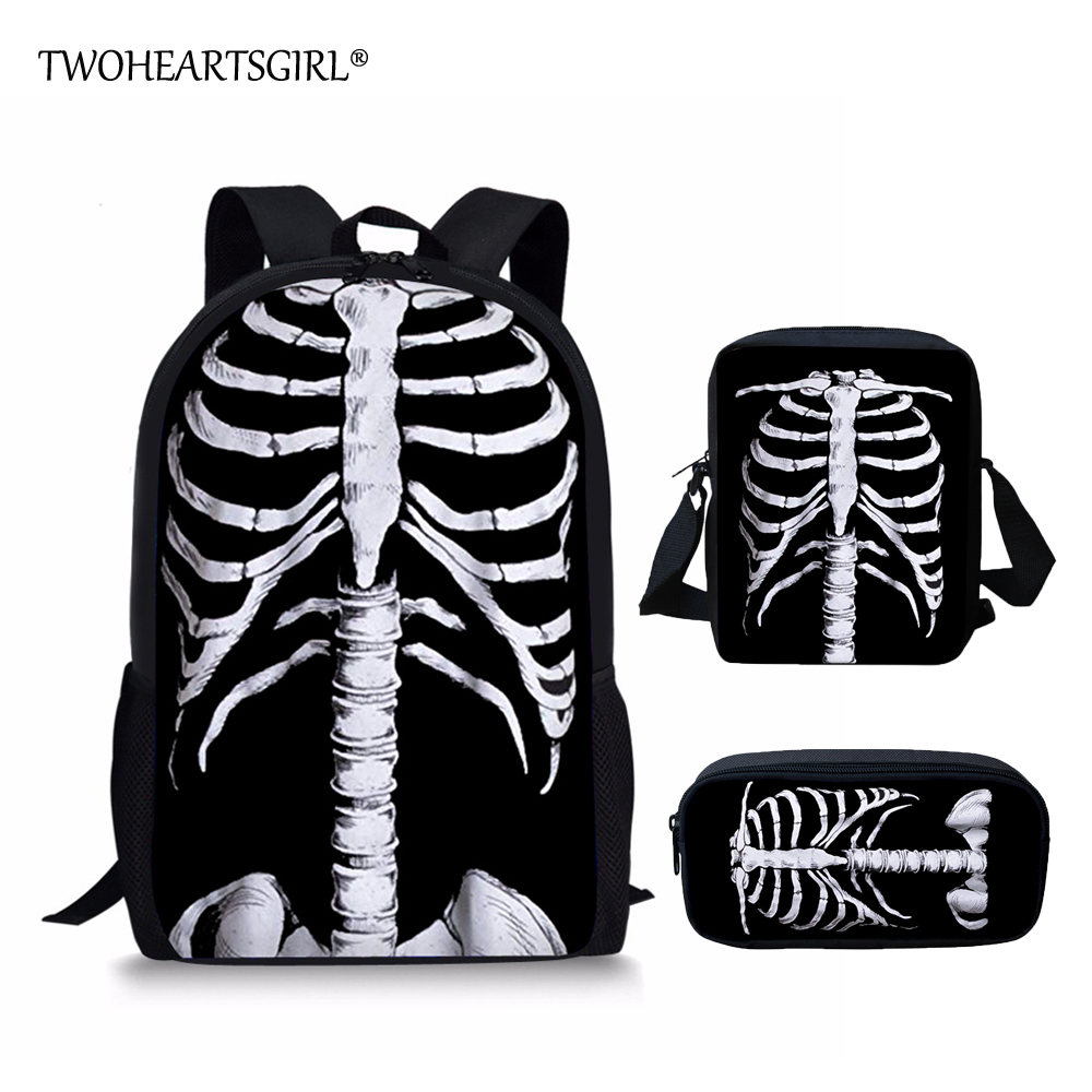 School Bags Kids & Baby's Bags Twoheartsgirl Schoolbags For Teenager Novelty Halloween Skull Print Cool School Bag Sets For Children Cartoon School Backpacks