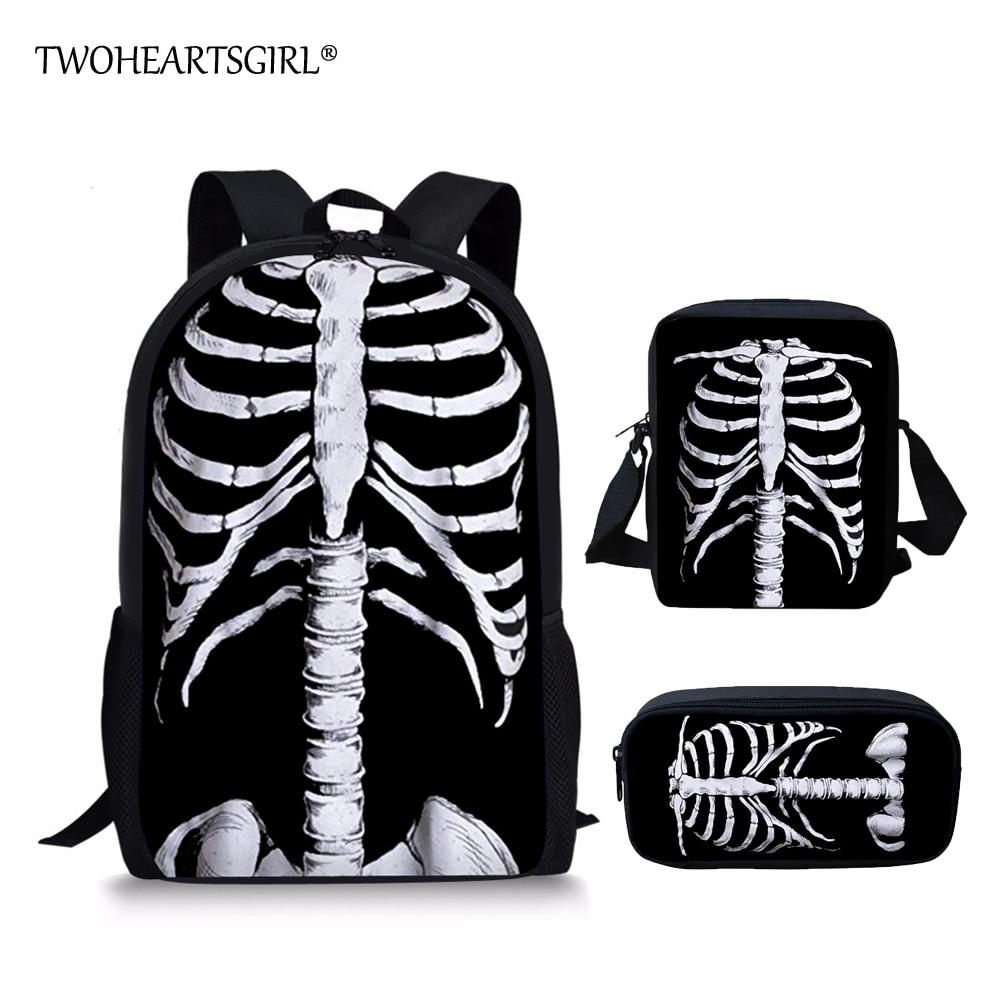 Twoheartsgirl Schoolbags For Teenager Novelty Halloween Skull Print Cool School Bag Sets For Children Cartoon School Backpacks Luggage & Bags