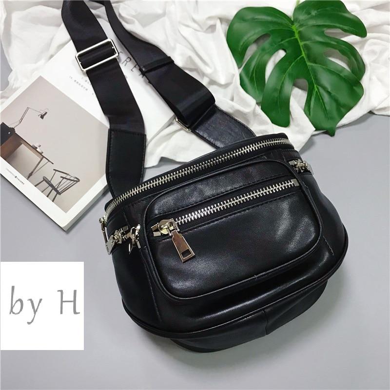 От H новое поступление коровья Большая вместительная нагрудная сумка для женщин и мужчин из натуральной кожи Регулируемый ремень большие сумки на молнии