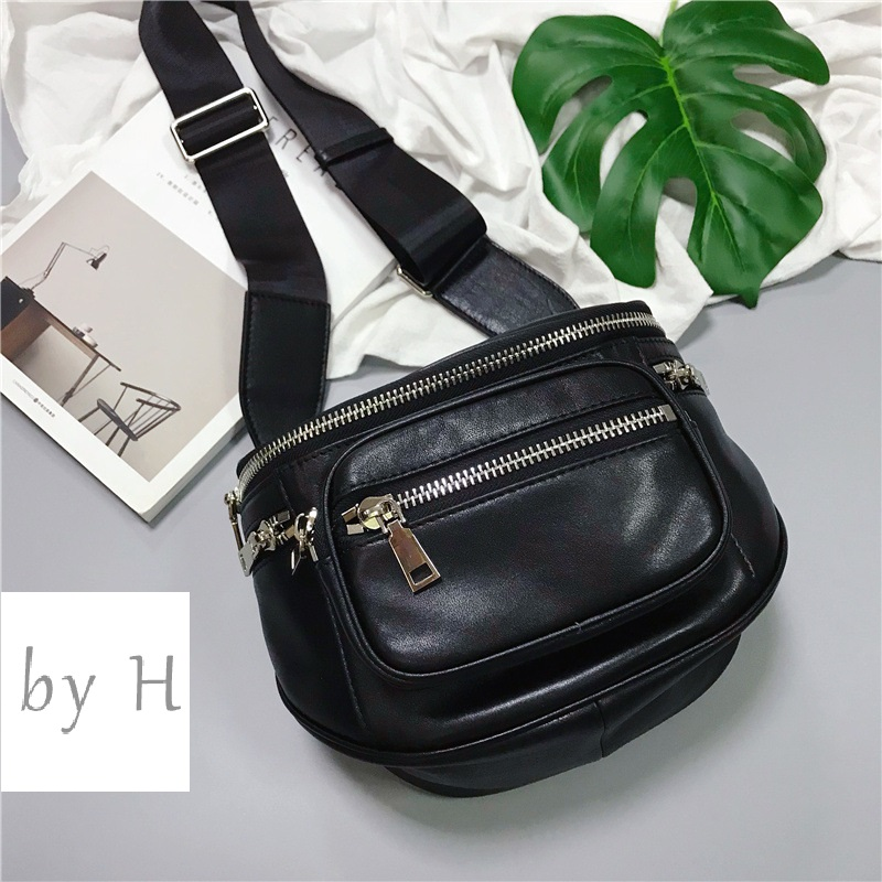 by H new arrival cow big capacity chest handbags for Women Men Genuine Leather Adjustable Strap Belt Large Zippered handbags