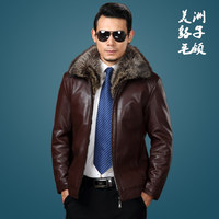 Hot Winter New Raccoon Fur Collar Fur One Male Fur Coats Men Short Section Leather Jacket Mens Thick Genuine Leather Jackets