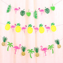 Party decoration pineapple flamingo flag banner birthday new house layout cartoon pull flower