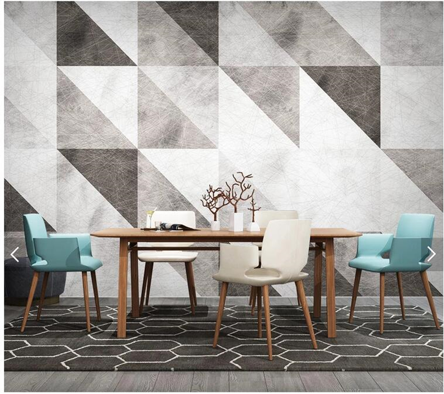 Custom Modern Geometric Wallpaper, Retro Triangle