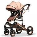 Wisesonle paisaje de Alta cochecito de bebé puede sentarse mentira bidireccional de cuatro ruedas plegable cesta verano