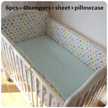 Promotion! 6pcs Cot Baby Bedding Set Blue Crib Newborn Baby Cartoon Linens Girls Boys ,include(bumpers+sheet+pillow cover)