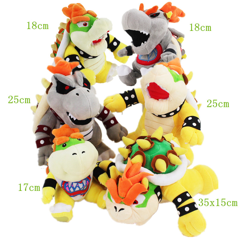 17 35cm Koopa Bowser Plush cartoon toys Hot Game Super Mario Bros Koopa Bowser 6styles cute