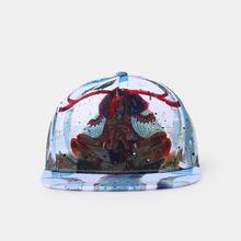 European and American mens hip-hop baseball cap, rock fashionable duck tongue art printed cotton cap adj