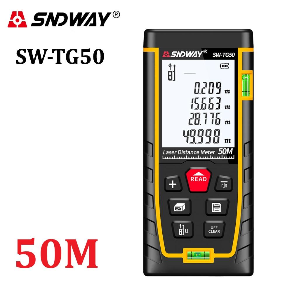 SNDWAY nuevo medidor láser de distancia de 50 m telémetro cinta métrica láser ruleta herramientas y accesorios osciloscopios construir dispositivo SW-TG50