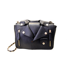 Women Motorcycle Jacket Collar Style Bag Cross Body Solid PU Leather Rivets Women Travel Shoulder Bag Small Handbags Party Y2
