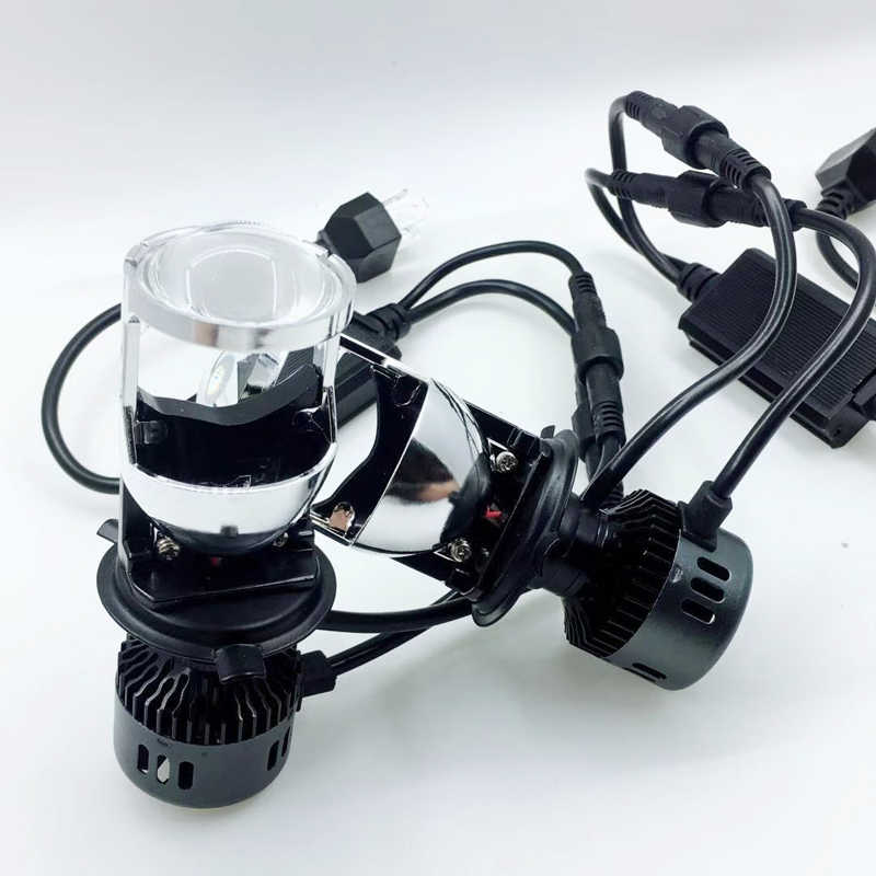 3000K 6000K H4 Led Headlight Double Lens With Fan Mini Size Big Spotlight With Refector Lampada Led H4 Headlamp Anti Flicker