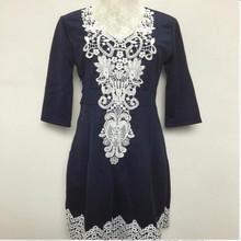 Women Party Dress V-Neck Half Sleeve Sexy Evening Lace Dresses Navy Blue Plus Size vestidos femininos
