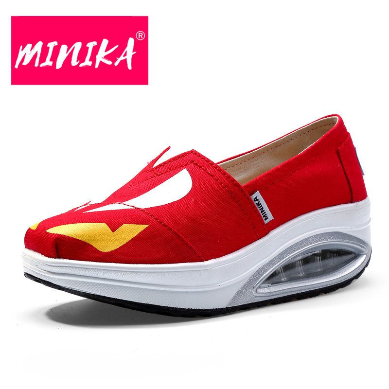 MINIKA Air Cushion Platform Shoes Women Design Slip-On Mixed Colors Women Casual Shoes Fashion Women Healthable Flat Shoes minika fashion air mesh shoes women breathable