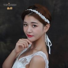 TOPQUEEN HP125 Handmade Real Pearl Head Piece Bridal Headbands Bride Ornaments Milk rhinestone bridal Hair accessories