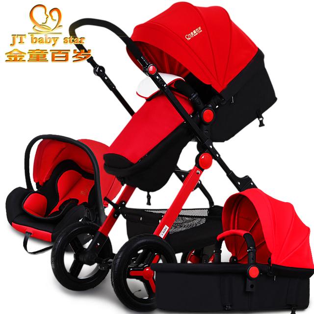 2017 3 en 1 cochecitos de bebé luz de coche de bebé cesta de dormir recién nacido cochecito de bebé 0 ~ 36 meses de Europa del bebé cochecito de niño de cinco colores