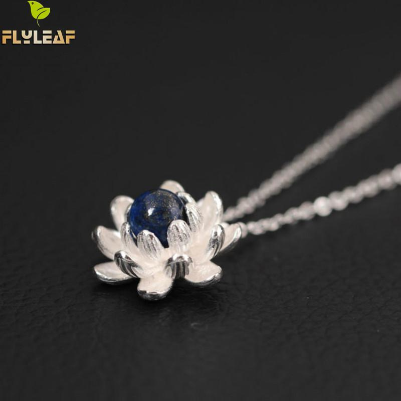 Flyleaf Hand Lapis Lazuli Lotus Flower Necklaces & Pendants For Women Elegant Lady Accessories 925 Sterling-silver-jewelry