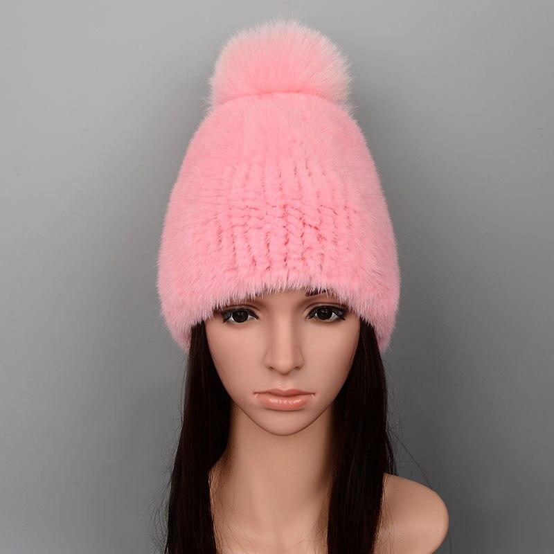 Vison fourrure casquette tricoté chapeaux avec renard cheveux balle 2017 hiver femmes bonnets 100% naturel véritable fourrure casquettes russe chapeau casquette pour les femmes