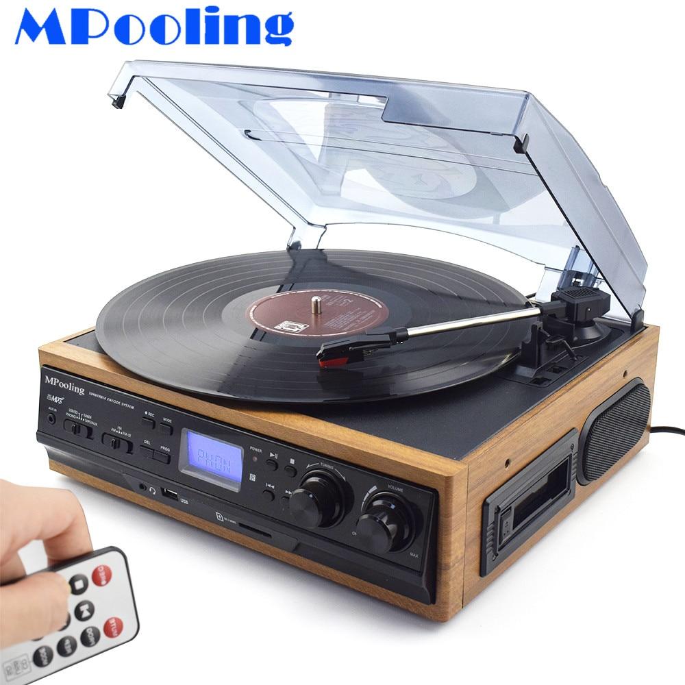 MPooling 33 45 78 RPM LP Record Giradischi Player Lettore di Cassette USB Recorder AM/FM Radio Built-In Altoparlanti Cuffie Jack