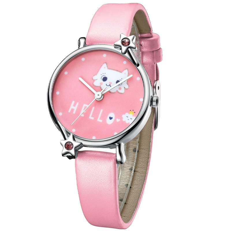 KDM Cute Girl Watch Cartoon Cat Child Watches Kids Waterproof Pink Leather Lovely Kids Children Watches Students Clock