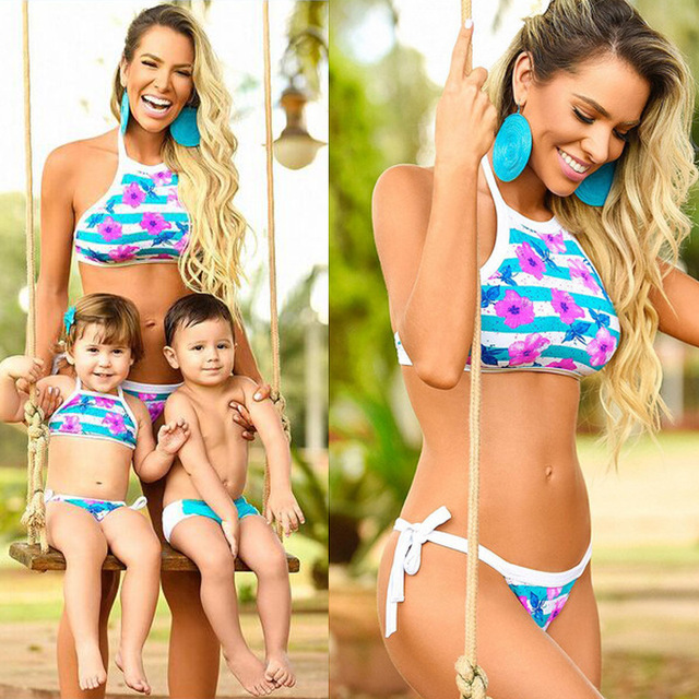 d960020e32 Mother Daughter and Son Swimwear Family Matching Outfits Bikini 2Pcs  Bra+Triangle Shorts Baby Girls Boys Children Swimsuit