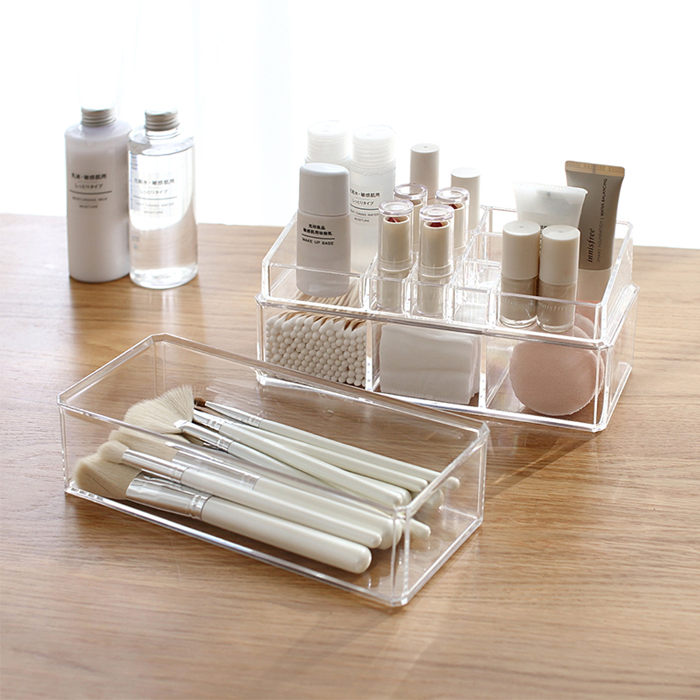 2018 New Transparent Lipstick Cosmetic Storage Box Dust Cotton Makeup Brush Desktop Storage Box Makeup Box
