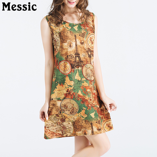 9406270ba95 2018 European Style Tank Dress Eiffel Tower Print Vintage Sexy Sundress  Classic Casual Round Neck Straight Short Robe Femme