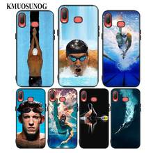 For Samsung A6S A8S A6 A7 A8 A9 A5 A3 Star Plus 2018 2017 2016 Black Silicon Phone Case Michael Phelps Swimming Style
