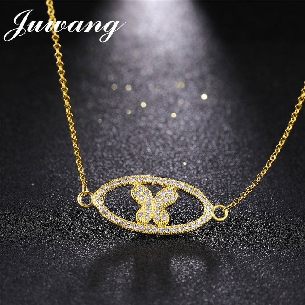 JUWANG Cute Gold Color Butterfly Pendant Necklace for Woman Girl Fashion CZ New Brand Jewelry Wholesale