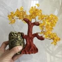 Natural Crystal quartz gravel Money Tree Bonsai for Office Decoration pen container