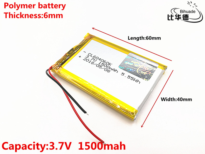 3.7V 1500mAH 604060 Polymer lithium ion  Li-ion Rechargeable battery for DVR,GPS,mp3,mp4