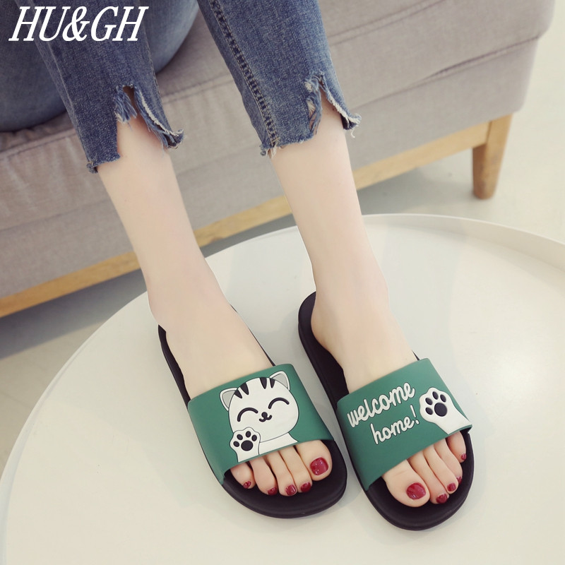 2018 New Summer Women's slippers Lovely Cat Non-slip indoor Slippers Bath slippers Student home lovers cool slippers Size 35-44 1