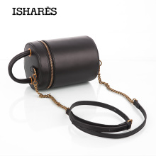 ISHARES Genuine Leather Retro Messenger Bags designer vintage handmade bags Cow Simple Barrel-shaped zipper handbag IS8115